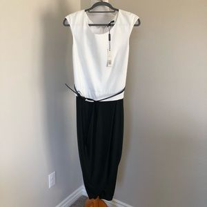 NWT Rachel Roy cap sleeve white black midi dress